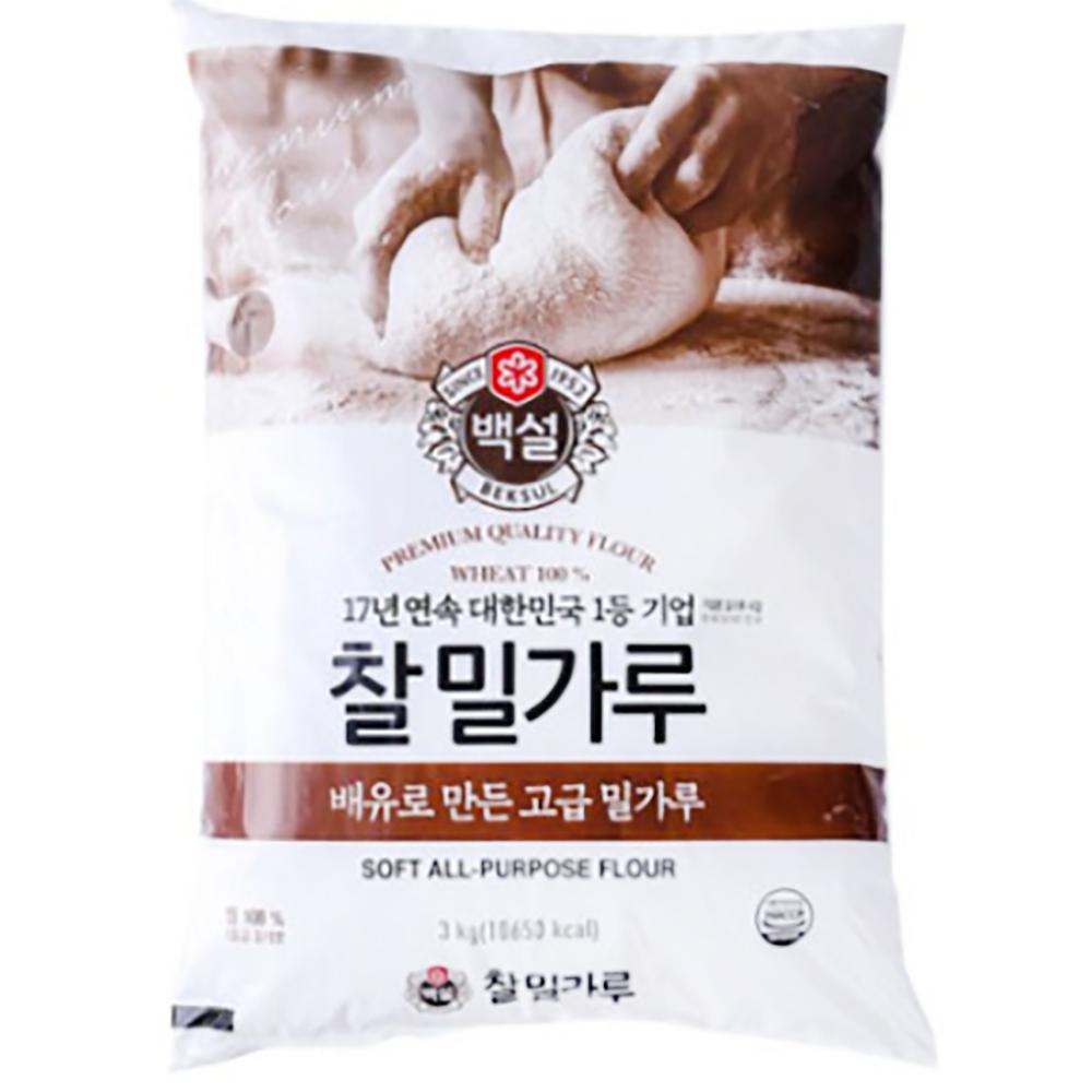 찰밀가루(백설 3K) 찰밀가루 칼국수 수제비 만두 짜장면 국수