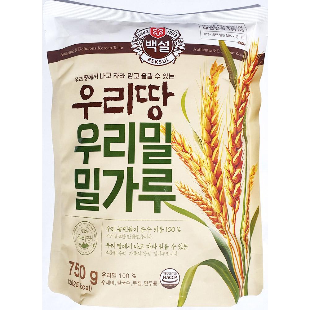 우리밀밀가루(백설 우리땅 750g) 고급면용 강력분 우리밀밀가루