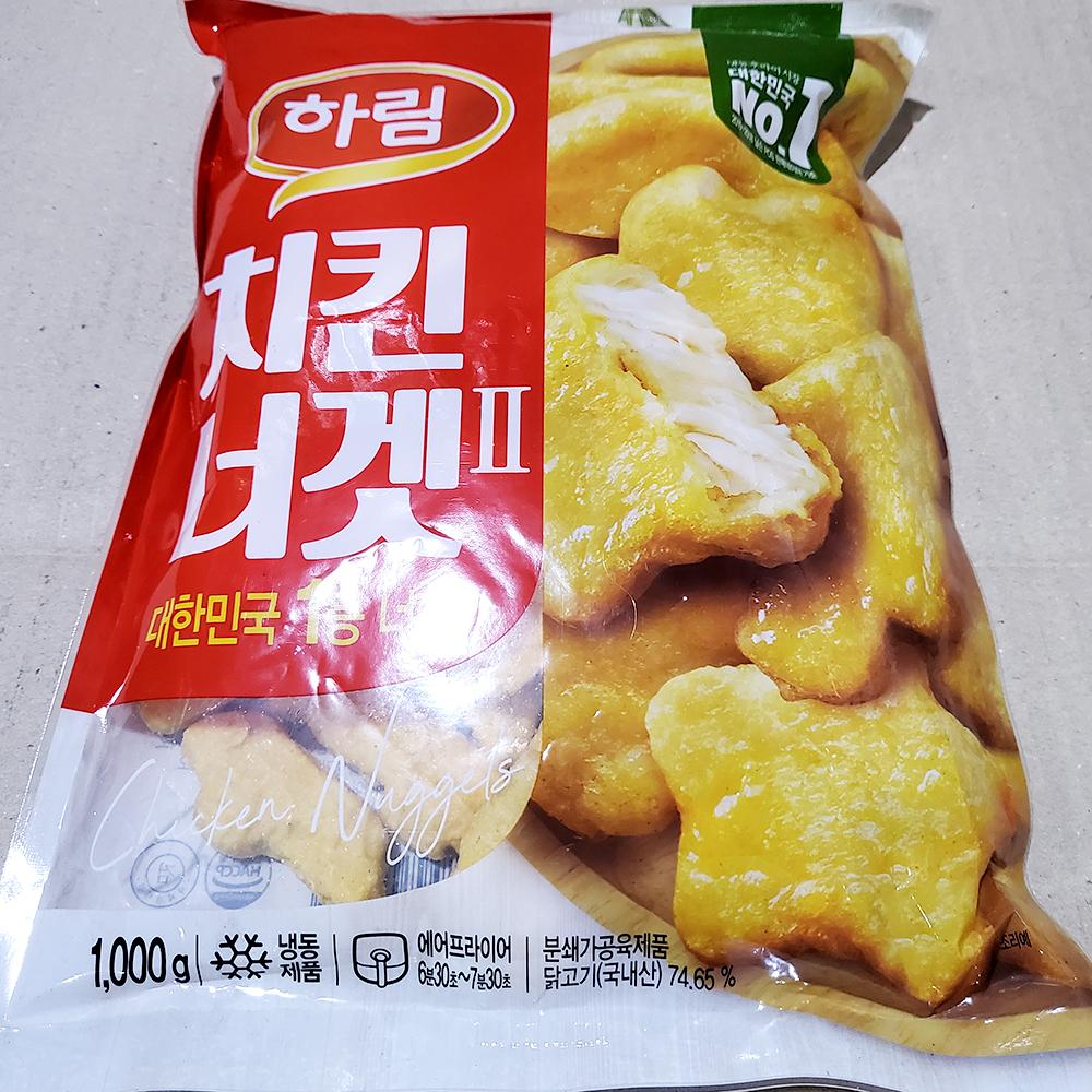 하림 치킨너겟 1K 치킨너겟 육가공 즉석식품 간식 안주 닭고기요리 nuggets