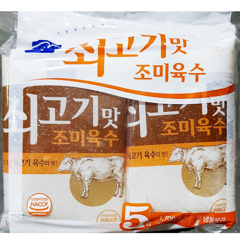 냉면육수(면사랑 쇠고기맛 340gx5입) 쇠고기냉면육수 냉면재료 즉석식품 간식 분식재료 냉면육수